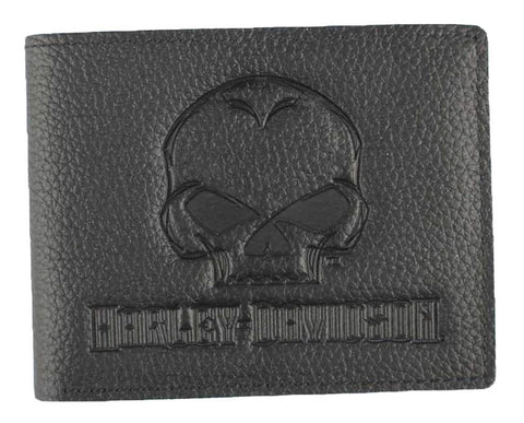 Harley-Davidson® Mens Emboss Willie G Skull Leather Billfold Wallet