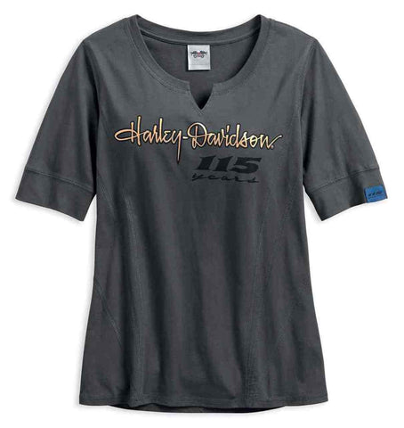 Harley-Davidson® Women's 115th Anniversary Metallic Notch Neck Top