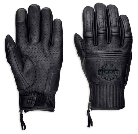 Harley-Davidson® Mens Layton Perforated Full-Finger Leather Gloves