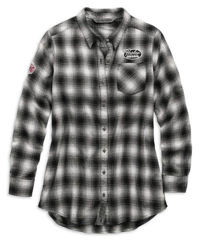 Harley-Davidson® Women's Crackle Print Graphic Plaid Shirt