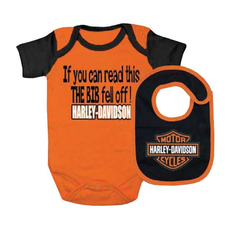 Harley-Davidson® Baby Boys' Interlock B&S Creeper & Bib Set