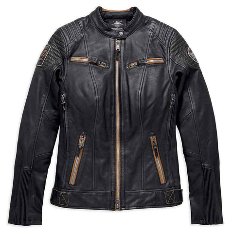 Harley-Davidson® Womens Maize Vented Vintage Leather Jacket