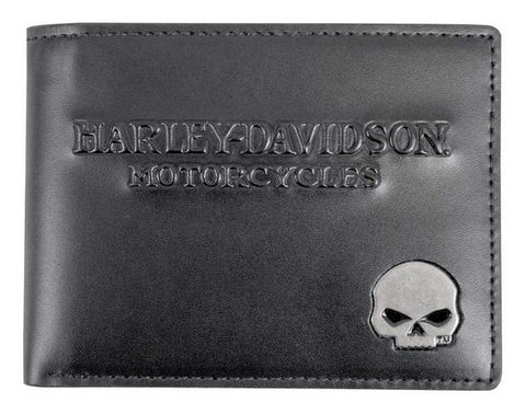 Harley-Davidson® Men's Skull Medallion Leather Billfold