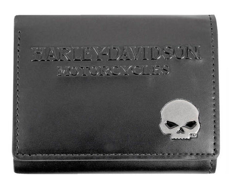 Harley-Davidson® Men's Willie G Skull Medallion Leather Tri-Fold