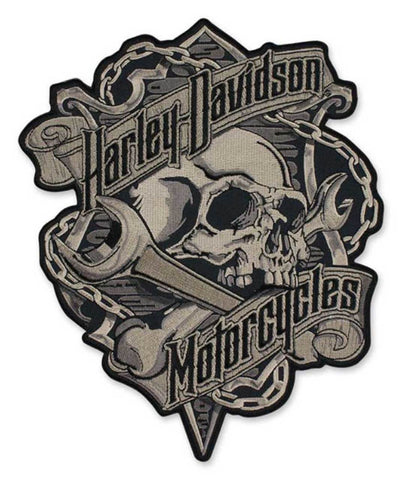 Harley-Davidson® Embroidered Grim Skull & Wrench Emblem Patch