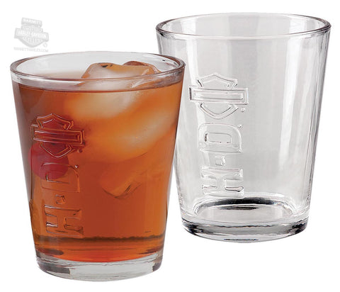 Harley-Davidson® Embossed B&S 2 Pack Tumbler Glass Set