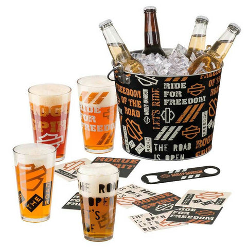 Harley-Davidson® Let's Ride Party Silhouette Bar & Shield Bucket Set