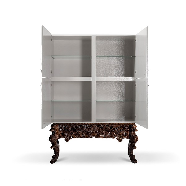 The Alexandra Cocktail Cabinet in White and Walnut