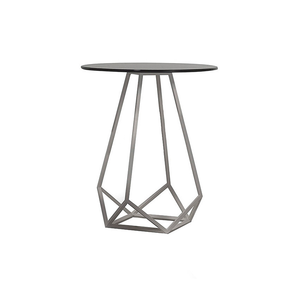Annette High Side Table in Black, Grey, and Bronze