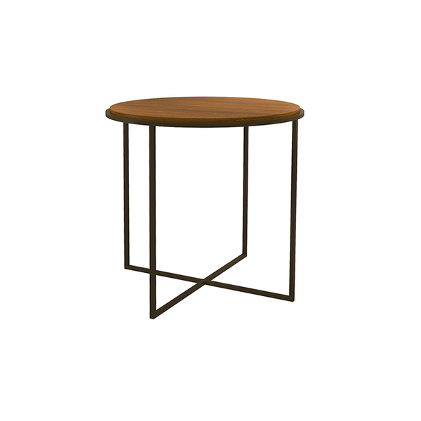 Denver Round Side Table in Walnut and Moka
