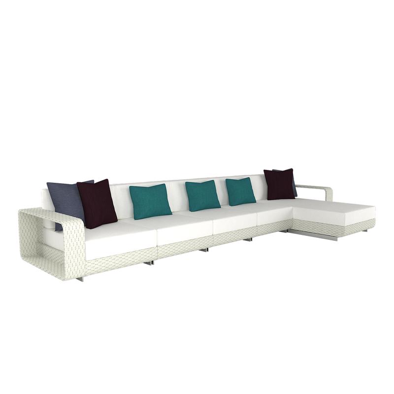 Hamptons Outdoor 4 Cushion Sofa with Chaise Lounge
