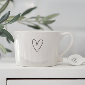 White Mug with Grey Heart Outline