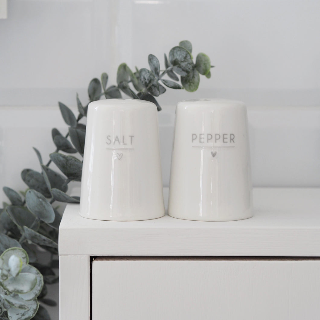 Salt & Pepper Shakers With Grey Heart