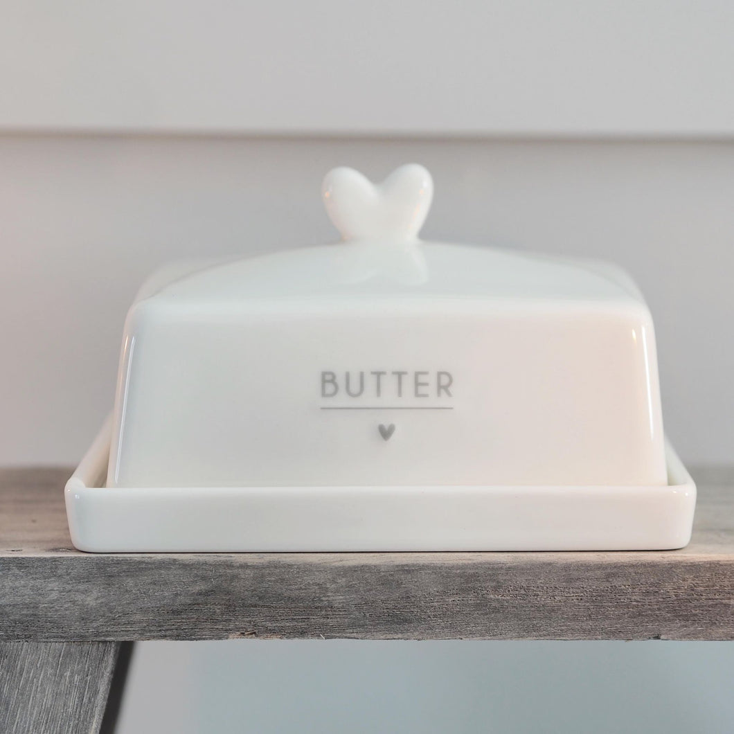 Butter Dish in White & Grey