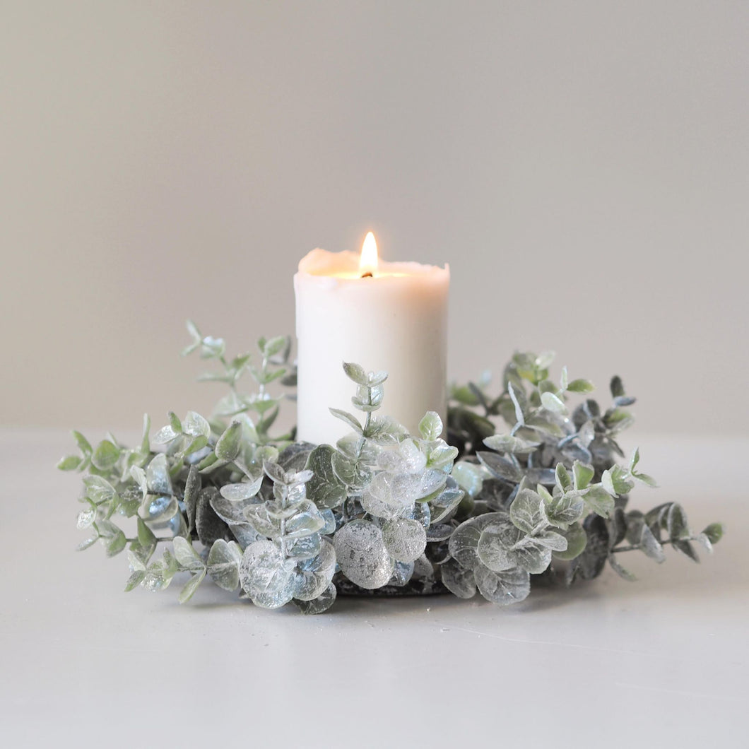 Frosted Eucalyptus Candle Wreath