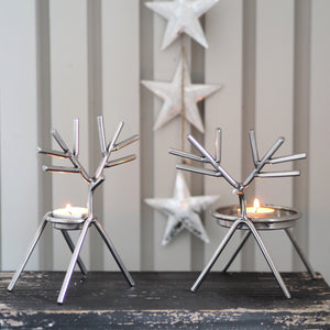 Silver Stick Reindeer Candle Holder - Available In Two Sizes