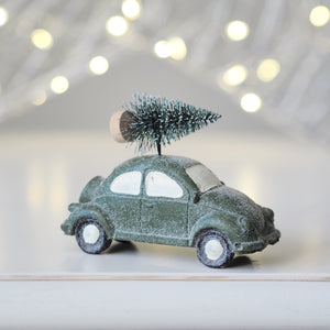 Green Car With Christmas Tree