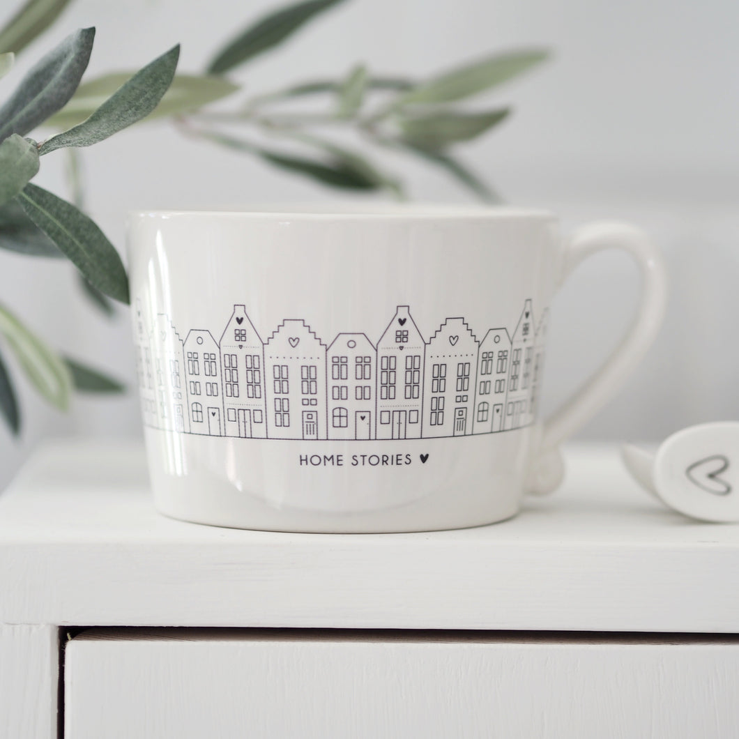 White and Black Canal Houses Mug