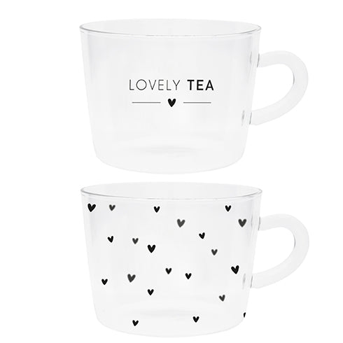 Glass Lovely Tea or Tiny Hearts Cup - Two Styles Available
