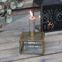 Load image into Gallery viewer, Glass & Iron Candlestick Box - Brass