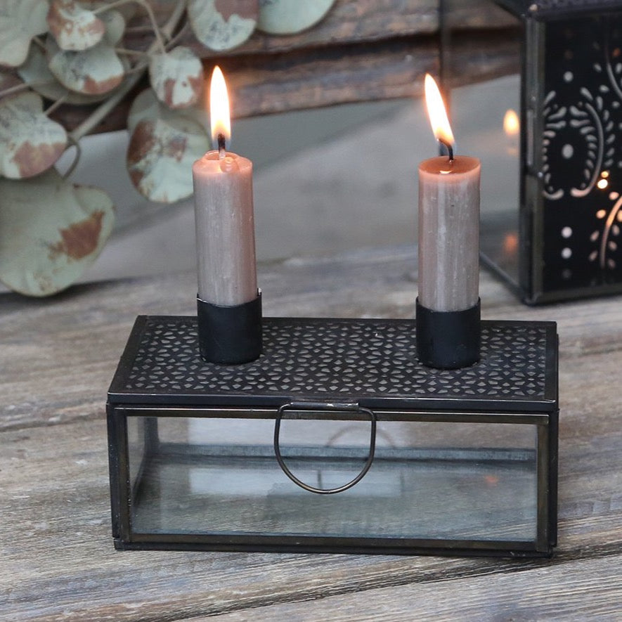 Glass & Iron Double Candlestick Box - Coal
