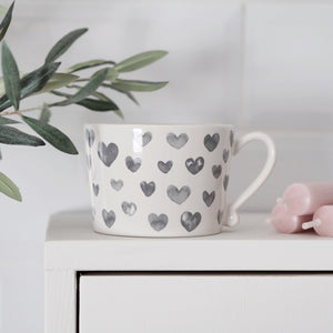 Watercolour Hearts Mug Grey