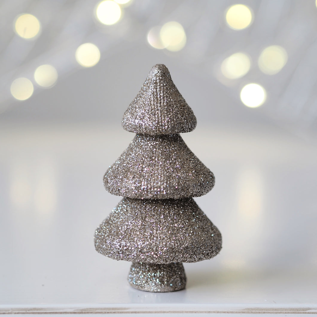 Champagne Glittery Christmas Tree Ornament