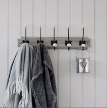 Load image into Gallery viewer, Grey Wash Wooden Hook Rack