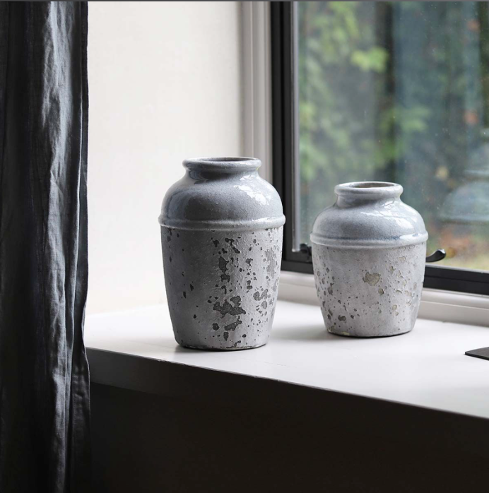 Grey Cement Terrain Vase - Medium