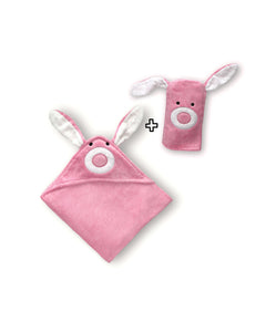Pink Bunny Hooded Baby Towel & Mitt - ROSA