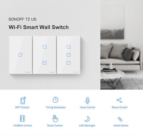 Sonoff Remote Control Wall Touch Light Switch Panel, T1, T2, T3, Alexa, Google Home - SmartTechUnlimited