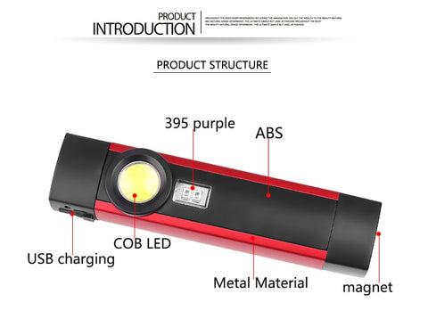 LED Flashlight Portable UV Black Light, 4 Modes, With Magnet, ZK20 COB XPE - SmartTechUnlimited