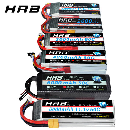 RC Lipo Battery, Multi-Amps & Multi Plugs Including  XT60-T Deans Plug, HRB Replacement - SmartTechUnlimited