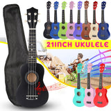 Hawaiian Soprano Ukulele, 21 inch, 4 Strings, 12 Frets, Spruce/Basswood Musical Instrument Set Includes Tuner, String, Strap, & Bag - SmartTechUnlimited