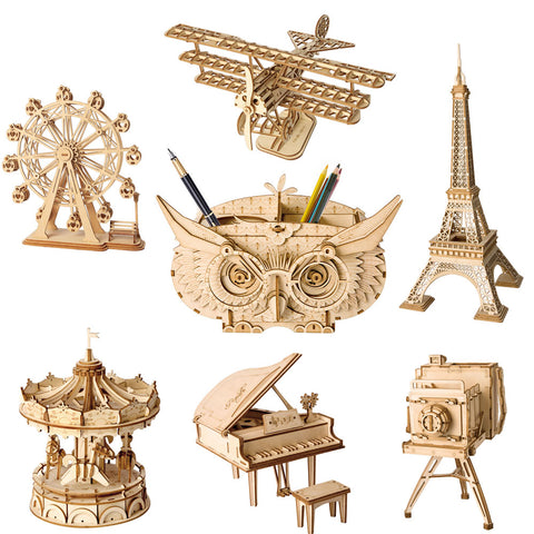 Robotime 7 DIY Wooden Model Building Kits, Bi-Plane, Ferris Wheel, Grand Piano, Vintage Camera, Merry Go Round, Owl Box, or Eiffel Tower. - SmartTechUnlimited