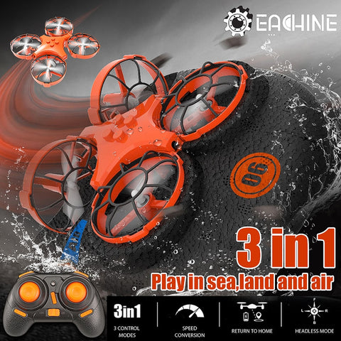 Eachine RC 3-in-1 RTF Drone Land Quadcopter Hovership, 1-Key Return, Flying, Air Boat, Land Driving Modes - SmartTechUnlimited