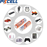 PKCELL 4 AA Rechargeable Batteries, 2500mWh 1.6V Ni-Zn 2A NIZN, Battery Case Box - SmartTechUnlimited
