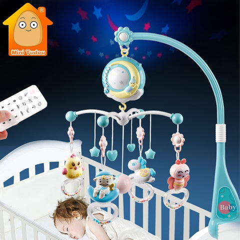 Baby Rattles Musical Rotating Crib Mobile, With Detachable Teething Rattles - SmartTechUnlimited