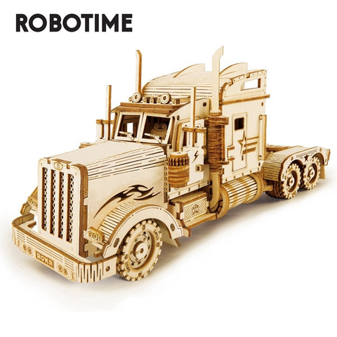 Robotime DIY 18 Wheeler Heavy Truck Wooden Model Building Assembly Kit, MC502 - SmartTechUnlimited