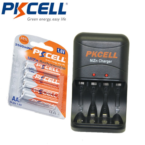 PKCELL 1.6V 4 AA Rechargeable Ni-Zn Batteries, 2250mWhrs to 2500mWh, Includes The Ni-Zn Battery Charger With EU/US Plug, 4Pcs. - SmartTechUnlimited