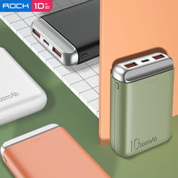 ROCK Portable Mini PD 10000mah Power Bank External Battery USB PD Fast Charging Powerbank For iPhone/Samsung/Xiaomi/Huawei
