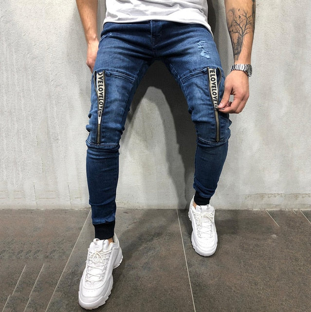 Vintage Ripped Jeans Men Zipper Letter Print Skinny Denim Pants Classic Cowboy Hip Pop Slim Fit Destroyed Jeans Pencil Pants D40