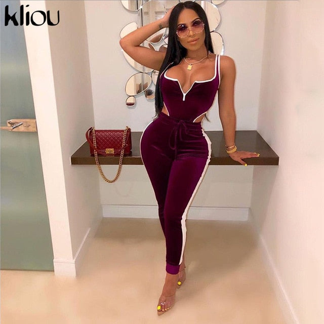 Kliou velvet women fitness sporting two pieces set outfit strapless sleeveless bodysuit + leggings Drawstring pants tracksuits