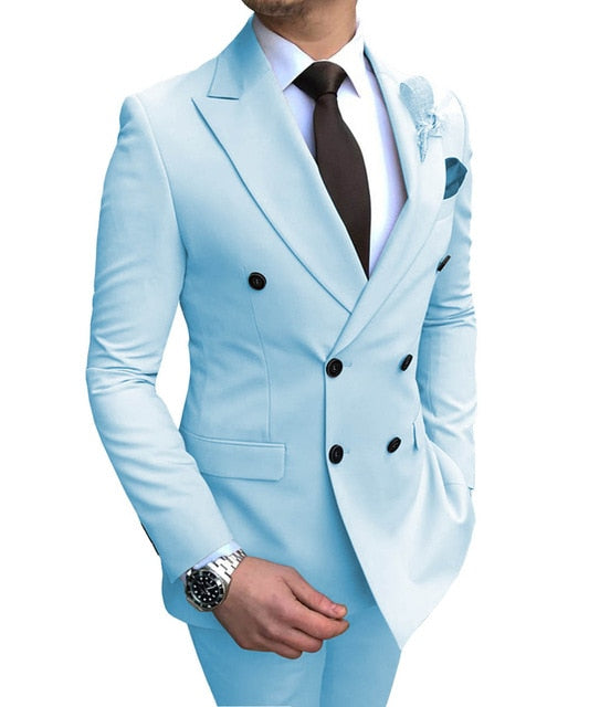 2019 New Beige Men's Suit 2 Pieces Double-breasted Notch Lapel Flat Slim Fit Casual Tuxedos For Wedding(Blazer+Pants)