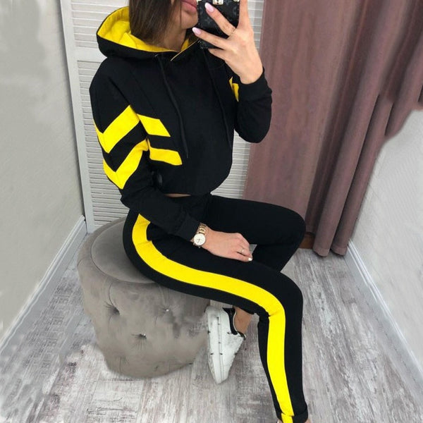 2019 Europe and the United States autumn new fashion classic striped women's hooded open-air sweater set two-piece