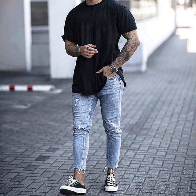 SIKETU Jeans Men Mid Waist Casual Slim Length Skinny Jeans Men Streetwear Fashion Hole Ripped Jeans for Men calça masculina D40