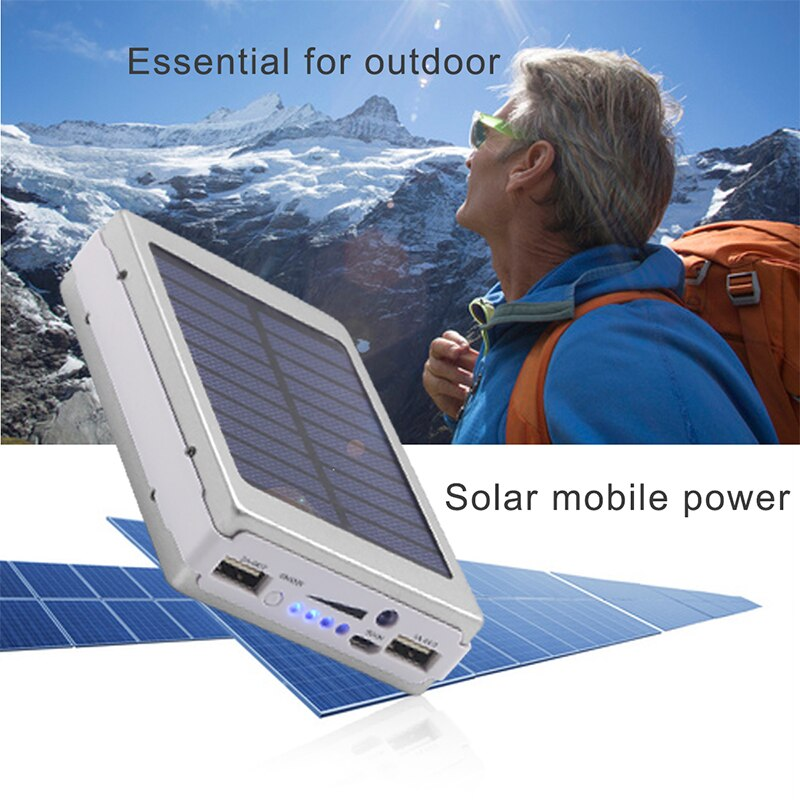 50000mAh Solar Panel LED Light Power Bank External Double USB Battery Charge With Charger Adapter Protable Outdoor