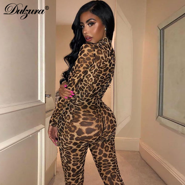 Dulzura see through transparent leopard print sexy women 2019 winter mesh long jumpsuit festival body outfits party clothing