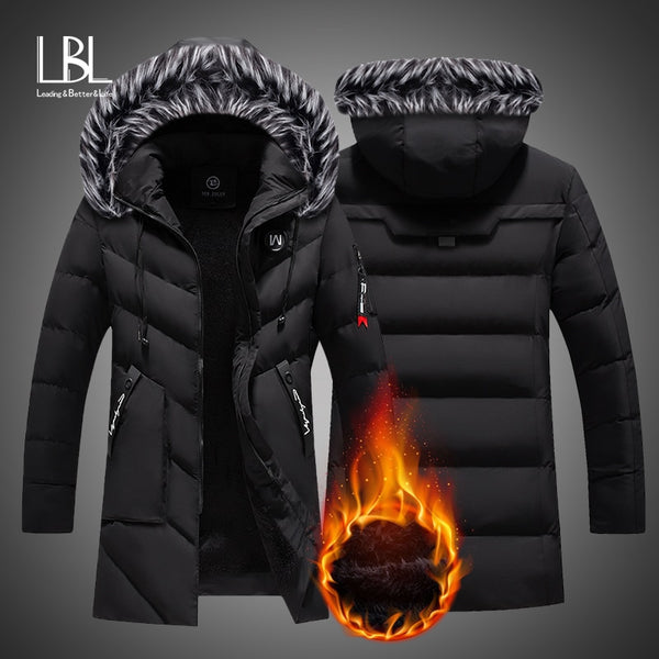 Winter Long Parkas Men Cotton Padded Brand Clothing Fashion Casual Slim Thick Warm Mens Coats Fur Hooded Overcoats Male Clothes