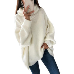CALOFE 2019 Women Oversized Thicken Basic Knitted Sweater Female Solid Turtleneck Pullovers and Sweaters Autumn Winter Jumpers